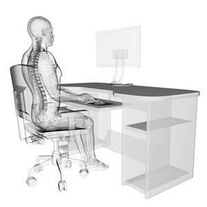 Person sitting on a desk