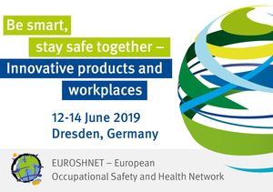 "Opuscolo che annuncia la Conferenza EUROSHNET 2019: ""Be smart, stay safe together. Innovative products and workplaces"""